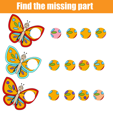 Matching children educational game. Find missing part. Puzzle activity for pre shool years kids and toddlers