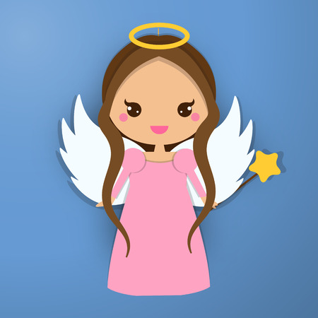 Cute angel.  Paper figure, sticker. Design element for greeting cards, communion, christening and other religious events. Papert craft, paper art style