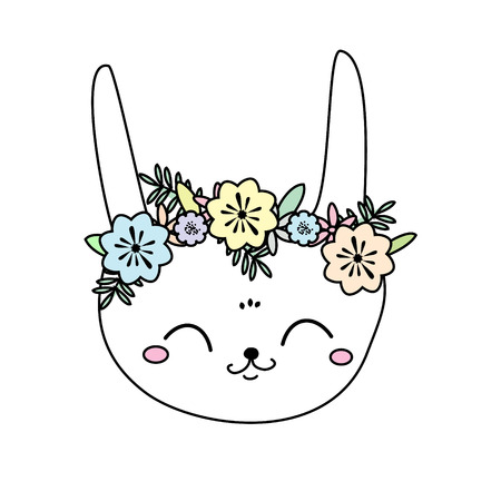 Cute rabbit. Bunny. Sweet little Hare. Cartoon animal face for kids, toddlers and babies fashion. Easter rabbit with flowers Illustration