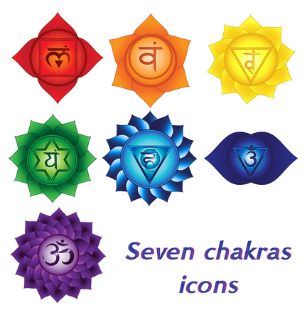 Seven chakras icons. Colorful spiritual tattoos kundalini yoga symbols. Stock Illustratie