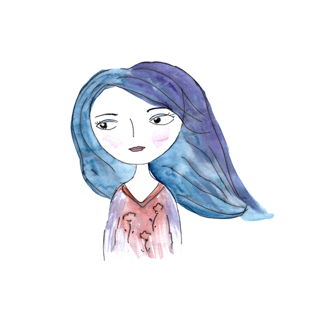 Cute watercolor girl with blue hair. Portrait