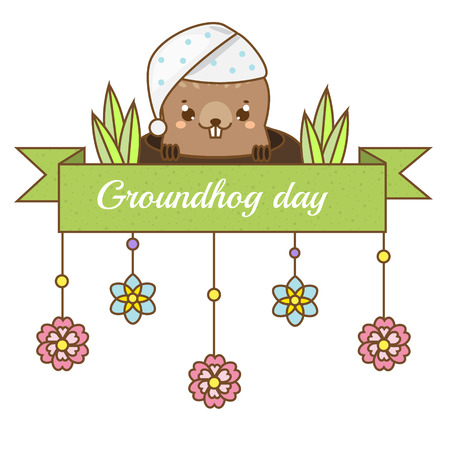 Groundhog day greeting banner. Seasonal design template with funny sleepy groundhog looking out from hole.