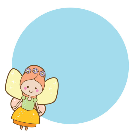 Beautiful little flying fairy character. Blue round frame design template for photos, children diplomas, kids certificate, party invitations, etc.
