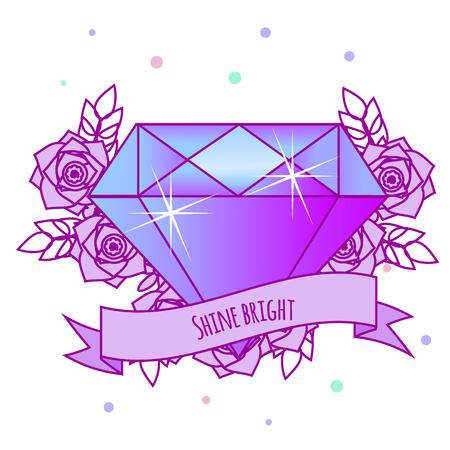 Geometric crystal diamond with flowers and motivational slogan on ribbon. Girls tattoo. Vector illustration in pastel gothic. Print, sticker for females, women fashion Çizim