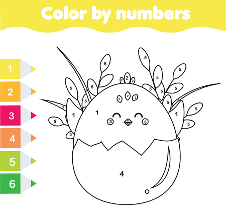 Easter activity. Children educational game. Mathematics actvity. Color by numbers, printable worksheet. Coloring page with cute chicken.