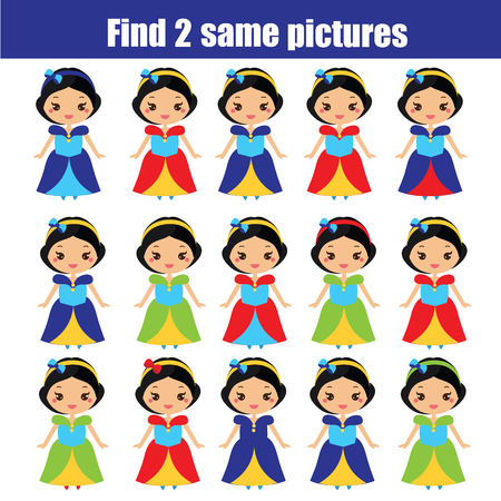 Find the same pictures. Children educational game. Find equal pairs of princess.