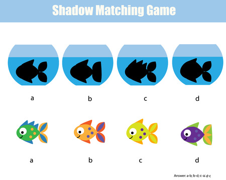 Shadow matching game for children. Find the right shadow. Illustration