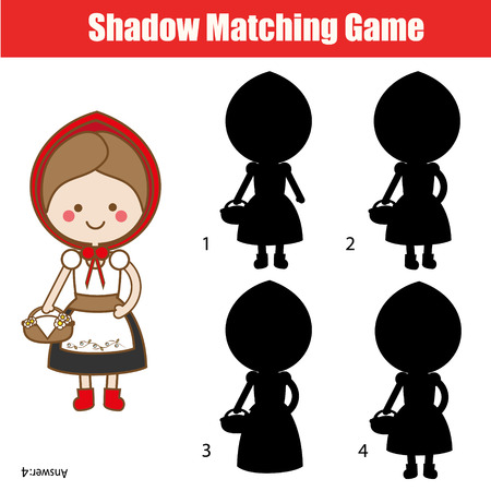 Shadow matching game for children. Find the right shadow for Red Riding Hood.