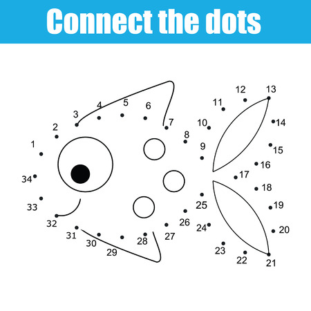 Connect the dots children educational drawing game. Dot to dot by numbers game for kids. Printable worksheet activity for toddlers with fish  イラスト・ベクター素材