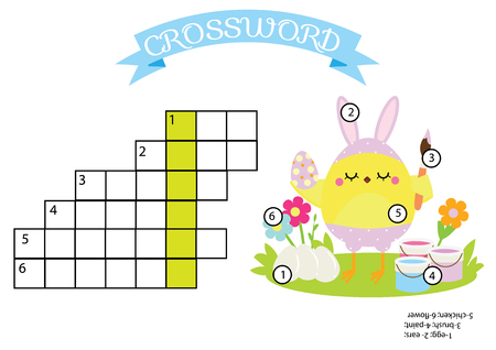 Easter activity. educational children game. Crossword with answer. Printable puzzle for toddlers. Cute chicken painting eggs