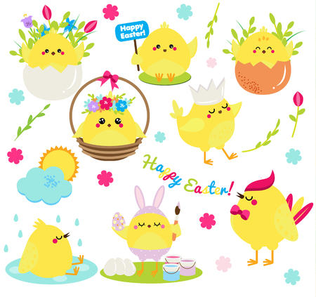 Cute cartoon chickens set. Easter chickens in eggs anf flowers, singing, painting and having fun. Isolated clip art for Easter design, stickers, greetings Vetores