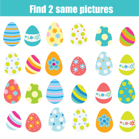 Easter activity. Find the same pictures. Children educational game. Find pair of easter eggs for toddlers