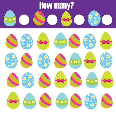 Easter activity. Counting game. How many objects task. Educational children game. Learning mathematics, numbers, addition theme with eggs