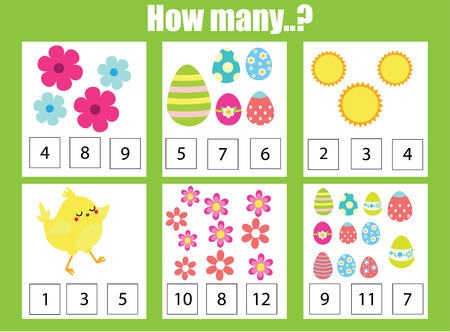 Easter game. Counting educational children game, math kids activity sheet. How many objects task. Learning mathematics, numbers, addition theme