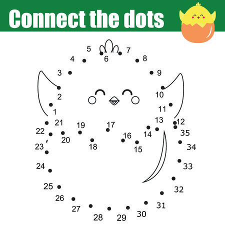 Connect the dots children educational drawing game. Dot to dot by numbers for kids. Printable Easter worksheet activity for toddlers with cute chicken Illustration