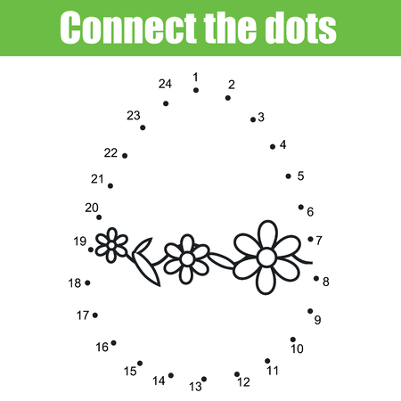 Easter game. Dot to dot by numbers for kids. Printable Easter worksheet activity for toddlers with Egg. Illustration