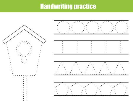 Handwriting practice sheet. Educational children game, printable worksheet for kids. Writing training printable worksheet with circles and polygonal shapes