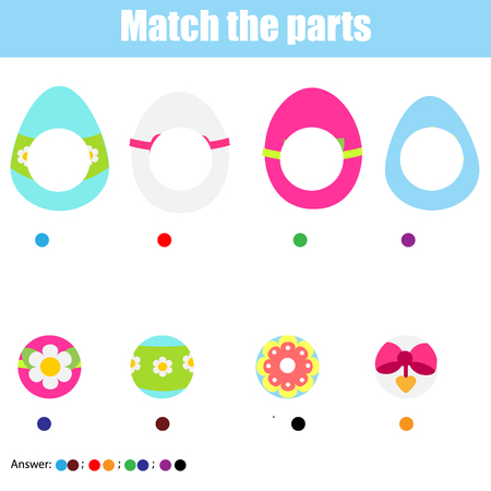 Matching children educational game. Find missing part. Puzzle activity for pre shool years kids and toddlers. Easter theme