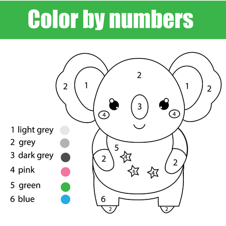 Children educational game. Coloring page with cute koala. Color by numbers, printable activity, worksheet for toddlers and pre school age. Animals theme