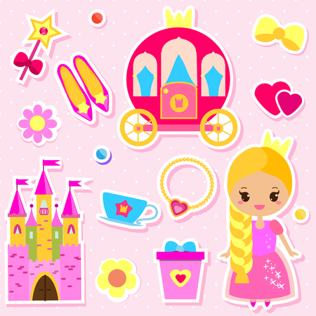 Cute princess paper doll and fairy tales accessories stickers set. For party invitations, scrapbook, mobile games