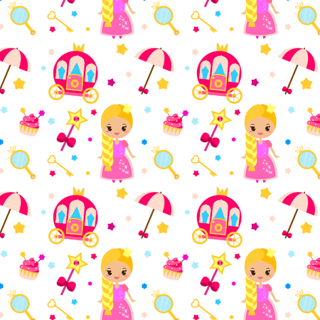 Princess party pattern. Vector background with girls design elements. Queen, carriage, castle, wand.