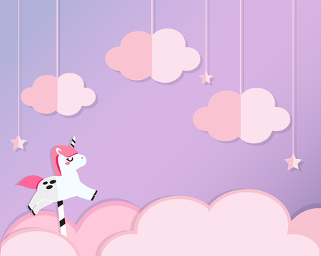 Unicorn on pink clouds in violet heaven. Background in paper cut, paper craft style. For kids and nursery design, banners, invitations
