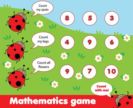 Educational children game. Counting game. Math kids activity. How many objects task. Learning mathematics, numbers, addition theme