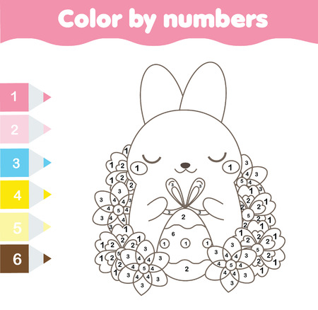 Easter coloring page. Color by numbers, printable worksheet. Cute Easter Rabbit with Egg. Educational game for children, toddlers, kids pre school age Illustration