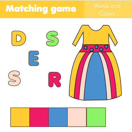 Children educational game. Words puzzle. Match by color and place the letters in right order. Learning vocabulary. Worksheet for pre school years kids and toddlers Illustration