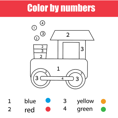 Coloring page with toy train. Color by numbers, printable worksheet. Educational game for children, toddlers and kids pre school age