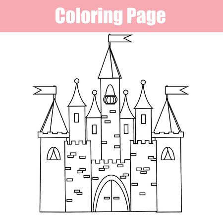 Coloring Page Educational Children Game Fairy Castle Princess