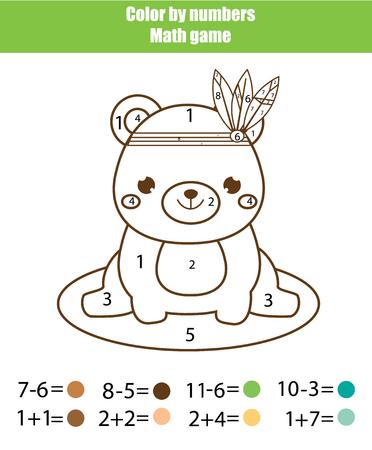 Children educational game. Mathematics actvity. Color by numbers, printable worksheet. Coloring page with cute bear. Learning addition and subtraction. Counting game