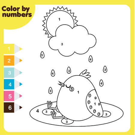 Coloring page with chicken. Color by numbers, printable worksheet. Educational game for children, toddlers and kids pre school age Ilustração