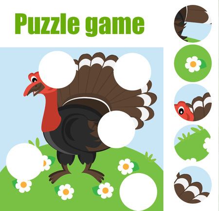 Puzzle for toddlers. Matching children educational game. Match pieces and complete the picture. Activity for pre school years kids.Turkey gobbler. Animals theme