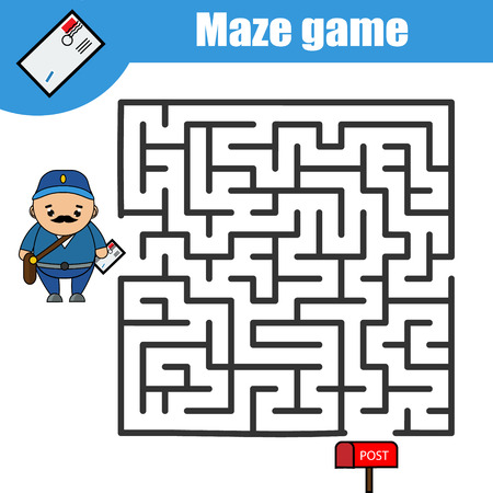 Maze game. Help the postman go through labyrinth and deliver the letter. Kids activity sheet, printable educational children game