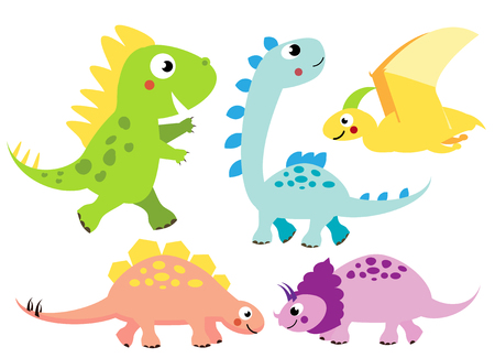 Cute dinosaurs set. Cartoon dino characters, isolated elements for kids design, stickers, books Illustration