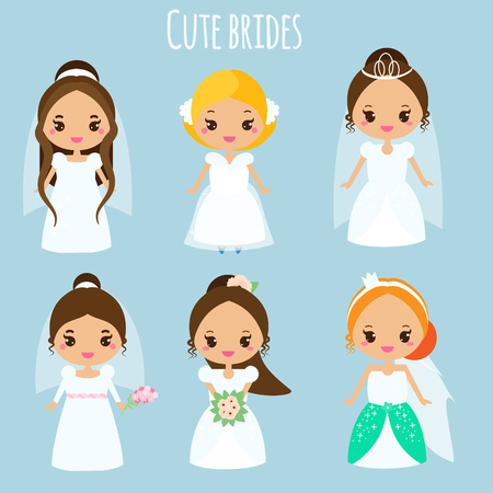Cute cartoon brides. Princess in wedding dresses. Kawaii fiancee icons. Vector illustration for bridal design, scrapbook, stickers