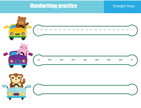 Handwriting practice sheet. Educational children game, printable worksheet for kids. Writing training printable worksheet  イラスト・ベクター素材