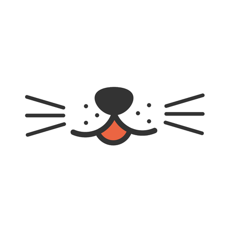 Animal nose, mouth and moustache. Pets face. Vector symbol, icon