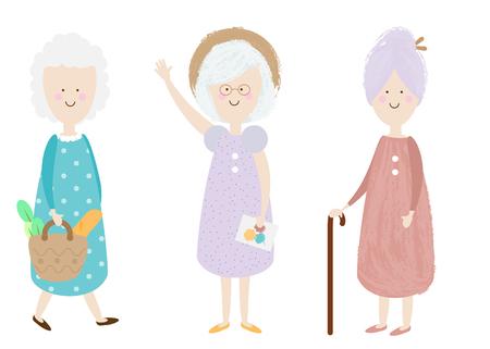 Elderly women. Happy old lady. Cartoon senior female. Grandmother shopping, standing. Retired activity. Isolated clip art Vettoriali