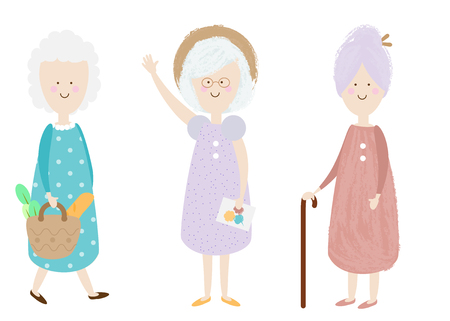 Elderly women. Happy old lady. Cartoon senior female. Grandmother shopping, standing. Retired activity. Isolated clip art Ilustração