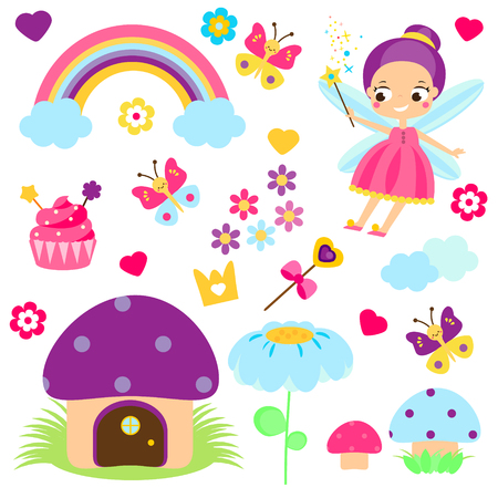 Fairy set. Collection of cartoon fairy tale design elements. Rainbow, mushroom house, forest symbols. Stickers, clip art for girls for scrapbook, party, mobile applications, blogs