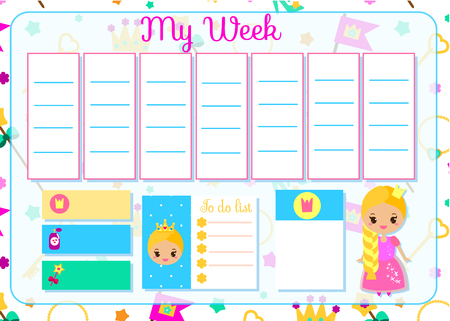 Kids timetable with cute princess. Weekly planner for children girls. School schedule design template. Vector illustration