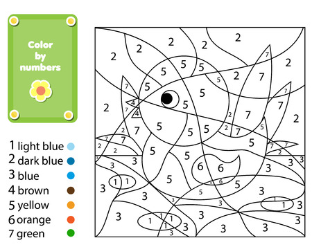 Children educational game. Coloring page with duck. Color by numbers, printable activity, worksheet for toddlers and pre-school age. Animals theme.