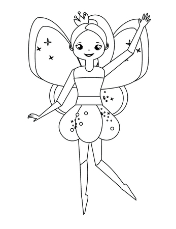 Coloring page with cute flying fairy holding flower magic wand. Color the picture. Educational children game, drawing kids activity, printable sheet