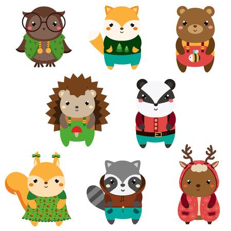 Cute forest animals. Cartoon wildlife animals set. Owl, fox, squirrel, raccoon and other. Vector illustration.