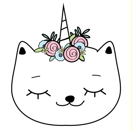 Cute cat with unicorn horn. Caticorn. Doodle, hand drawn style