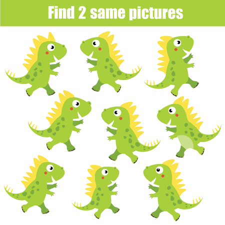 Find the same pictures children educational game. Find equal pairs of dinosaur kids activity. Animals theme.
