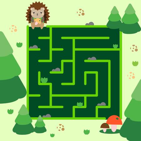 Maze game. Help hedgehog go through forest. Animals theme activity for kids, children, babies