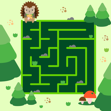 Maze game. Help hedgehog go through forest. Animals theme activity for kids, children, babies